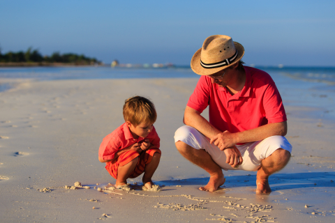 Possums for Parents with Babies - NDC, breastfeeding, baby sleep and crying problems, child and dad on beach, developmental paediatrician